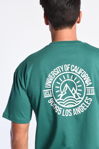 UCLA - GROVE Yeşil Bisiklet Yaka Oversize Erkek Tshirt (1)