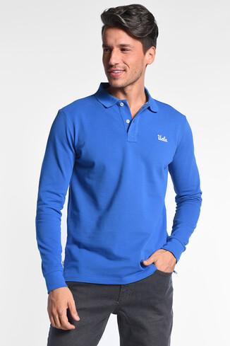 UCLA - GUSTINE Mavi Polo Yaka Nakışlı Erkek Sweatshirt