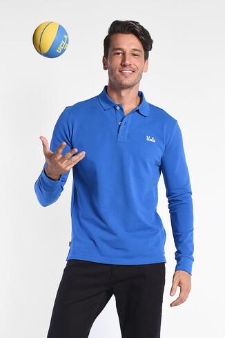 GUSTINE Mavi Polo Yaka Nakışlı Erkek Sweatshirt - Thumbnail (2)