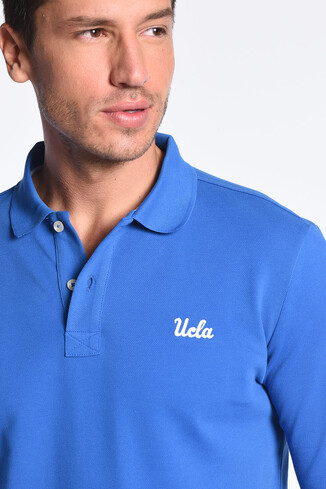 UCLA - GUSTINE Mavi Polo Yaka Nakışlı Erkek Sweatshirt (1)