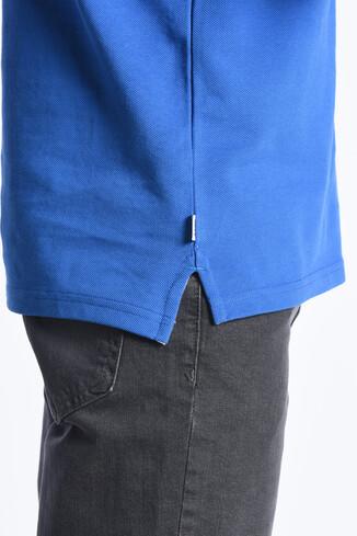 GUSTINE Mavi Polo Yaka Nakışlı Erkek Sweatshirt - Thumbnail (3)