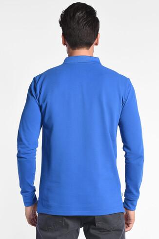 GUSTINE Mavi Polo Yaka Nakışlı Erkek Sweatshirt - Thumbnail (4)