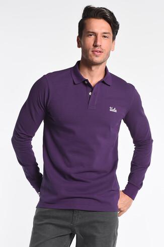 UCLA - GUSTINE Mor Polo Yaka Nakışlı Erkek Sweatshirt