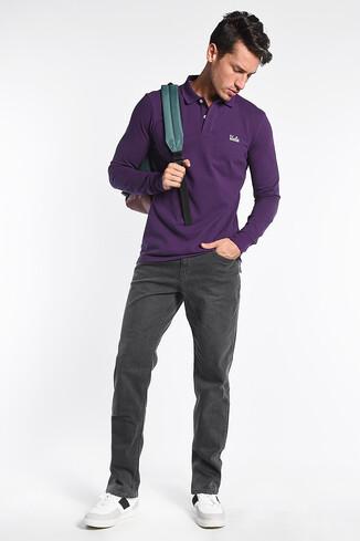 UCLA - GUSTINE Mor Polo Yaka Nakışlı Erkek Sweatshirt (1)
