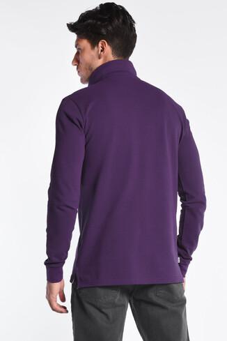 GUSTINE Mor Polo Yaka Nakışlı Erkek Sweatshirt - Thumbnail (4)