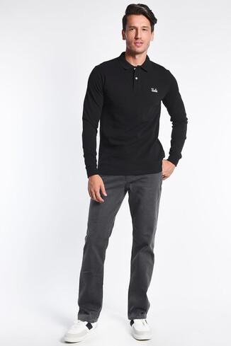 UCLA - GUSTINE Siyah Polo Yaka Nakışlı Erkek Sweatshirt (1)
