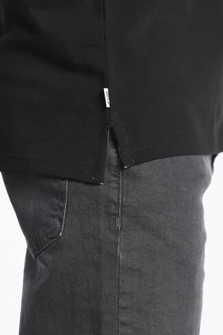 GUSTINE Siyah Polo Yaka Nakışlı Erkek Sweatshirt - Thumbnail (3)