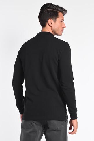 GUSTINE Siyah Polo Yaka Nakışlı Erkek Sweatshirt - Thumbnail (4)