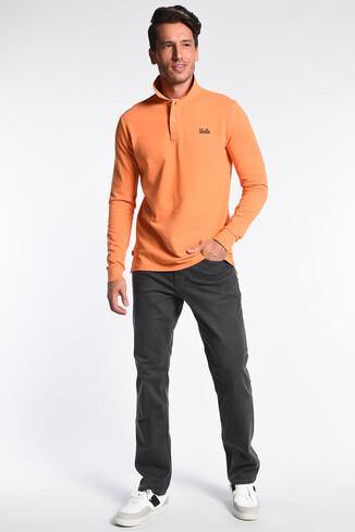 UCLA - GUSTINE Turuncu Polo Yaka Nakışlı Erkek Sweatshirt (1)