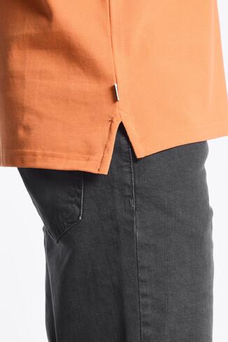 GUSTINE Turuncu Polo Yaka Nakışlı Erkek Sweatshirt - Thumbnail (3)