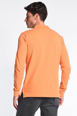 GUSTINE Turuncu Polo Yaka Nakışlı Erkek Sweatshirt - Thumbnail (4)