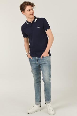 HAMMER Lacivert Polo Yaka Erkek T-shirt - Thumbnail (3)
