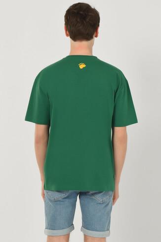 HAVEN Yeşil Bisiklet Yaka Baskılı Erkek Oversize Tshirt - Thumbnail (3)