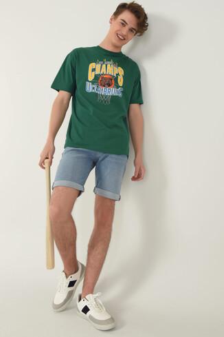 HAVEN Yeşil Bisiklet Yaka Baskılı Erkek Oversize Tshirt - Thumbnail (5)