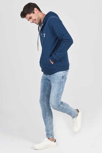 UCLA - HILGARD Lacivert Erkek Kapüşonlu ve Fermuarlı Sweatshirt