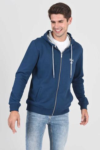 UCLA - HILGARD Lacivert Erkek Kapüşonlu ve Fermuarlı Sweatshirt (1)