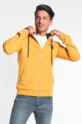 UCLA - HILGARD Sarı Kapüşonlu ve Fermuarlı Aplikeli Erkek Sweatshirt