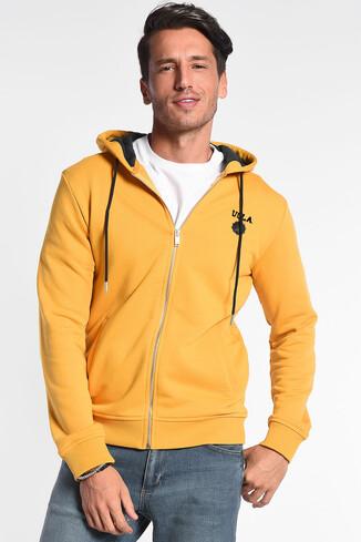 HILGARD Sarı Kapüşonlu ve Fermuarlı Aplikeli Erkek Sweatshirt - Thumbnail (2)