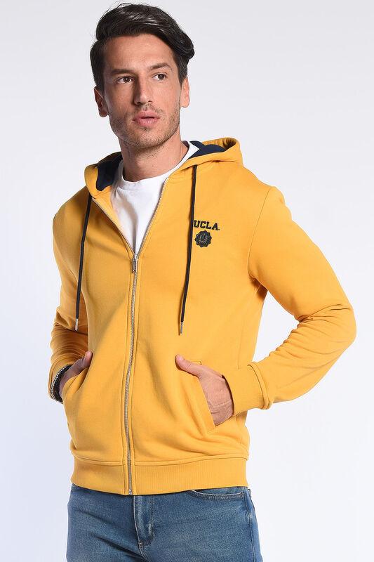 HILGARD Sarı Kapüşonlu ve Fermuarlı Aplikeli Erkek Sweatshirt - Thumbnail