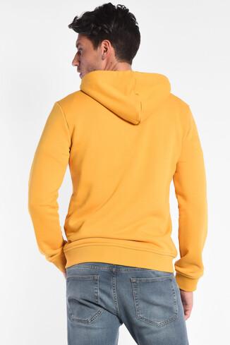 HILGARD Sarı Kapüşonlu ve Fermuarlı Aplikeli Erkek Sweatshirt - Thumbnail (4)