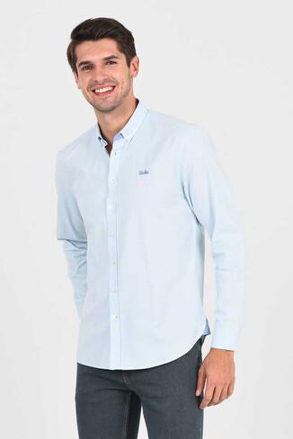 UCLA - JACKSON Açık Mavi Oxford Erkek Gömlek (1)