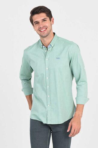 UCLA - JACKSON Yeşil Oxford Erkek Gömlek (1)