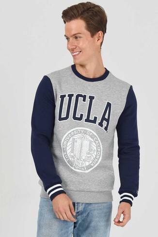 UCLA - JOSE Gri Bisiklet Yaka Baskılı Erkek Sweatshirt (1)