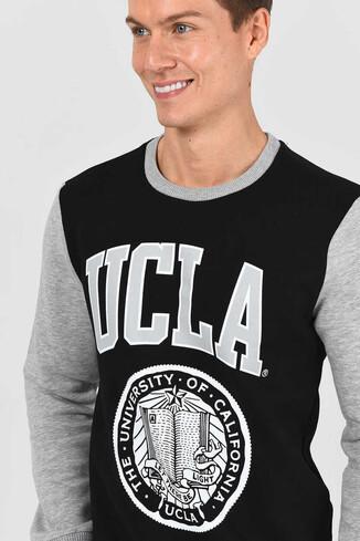 UCLA - JOSE Siyah Bisiklet Yaka Baskılı Erkek Sweatshirt