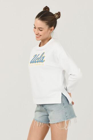 UCLA - LODI Beyaz Bisiklet Yaka Baskılı Kadın Sweatshirt