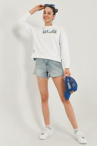 UCLA - LODI Beyaz Bisiklet Yaka Baskılı Kadın Sweatshirt (1)
