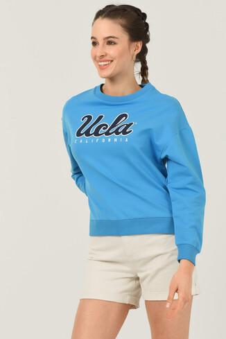 UCLA - LODI Mavi Bisiklet Yaka Baskılı Kadın Sweatshirt