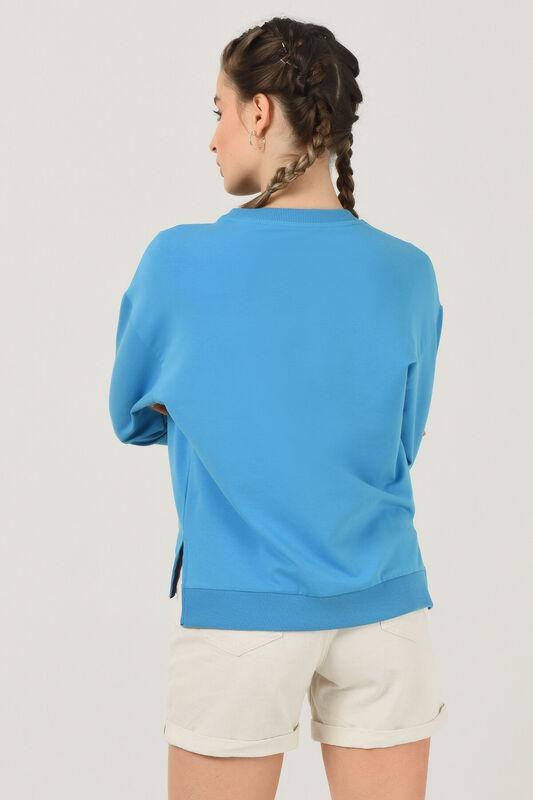 LODI Mavi Bisiklet Yaka Baskılı Kadın Sweatshirt - Thumbnail