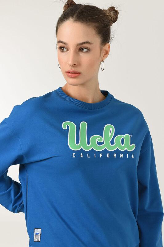 LODI Saks Mavi Bisiklet Yaka Baskılı Kadın Sweatshirt - Thumbnail