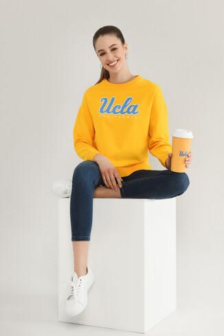 UCLA - LODI Sarı Bisiklet Yaka Baskılı Kadın Sweatshirt
