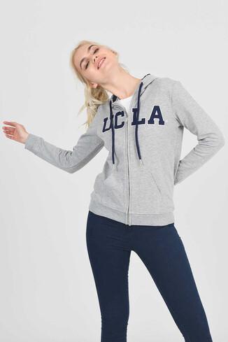 UCLA - LOMITA Gri Kapüşonlu ve Fermuarlı Kadın Sweatshirt