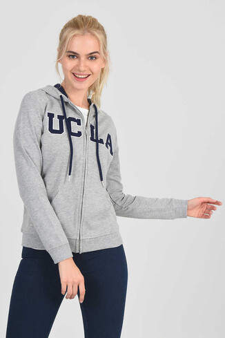 UCLA - LOMITA Gri Kapüşonlu ve Fermuarlı Kadın Sweatshirt (1)