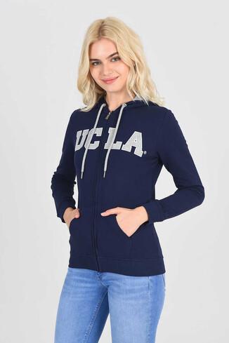 UCLA - LOMITA Lacivert Kapüşonlu ve Fermuarlı Kadın Sweatshirt