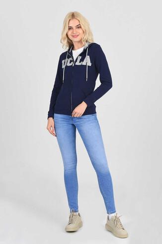 UCLA - LOMITA Lacivert Kapüşonlu ve Fermuarlı Kadın Sweatshirt (1)
