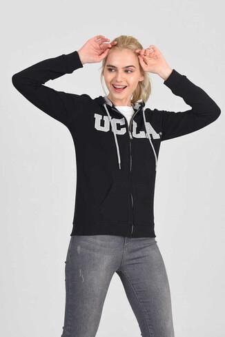 UCLA - LOMITA Siyah Kapüşonlu ve Fermuarlı Kadın Sweatshirt
