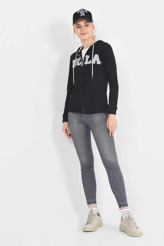 UCLA - LOMITA Siyah Kapüşonlu ve Fermuarlı Kadın Sweatshirt (1)
