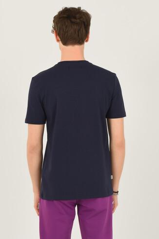 LONE Lacivert Bisiklet Yaka Erkek T-shirt - Thumbnail (3)