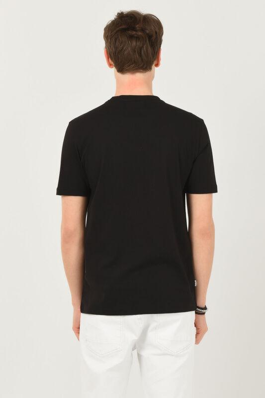 LONE Siyah Bisiklet Yaka Erkek T-shirt - Thumbnail