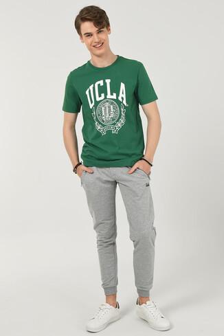 UCLA - LOOMIS Gri Daralan Kesim Nakışlı Erkek Eşofman Alt