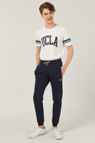 UCLA - LOOMIS Lacivert Daralan Kesim Nakışlı Erkek Eşofman Alt (1)