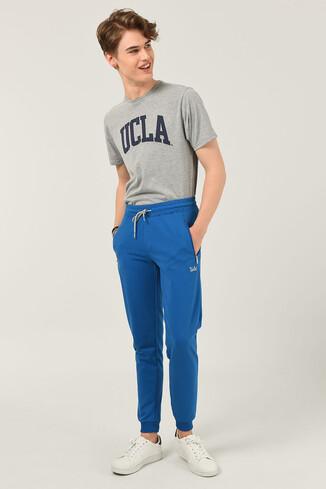 UCLA - LOOMIS Mavi Daralan Kesim Nakışlı Erkek Eşofman Alt
