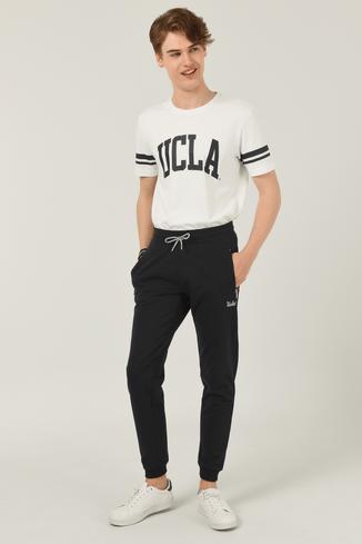 UCLA - LOOMIS Siyah Daralan Kesim Nakışlı Erkek Eşofman Alt