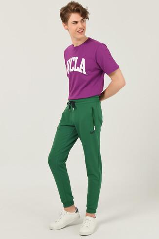 UCLA - LOOMIS Yeşil Daralan Kesim Nakışlı Erkek Eşofman Alt