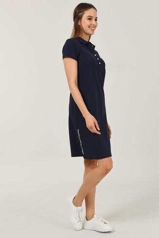 UCLA - MADEIRA Lacivert Polo Yaka Nakışlı Kadın Elbise