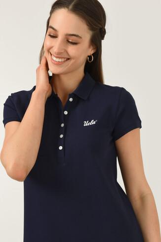 UCLA - MADEIRA Lacivert Polo Yaka Nakışlı Kadın Elbise (1)
