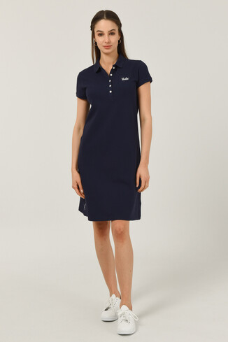 MADEIRA Lacivert Polo Yaka Nakışlı Kadın Elbise - Thumbnail (2)